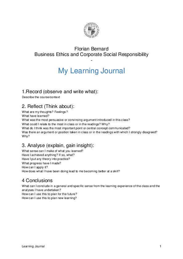 DOC) Learning Journal Florian | florian bernard - Academia edu