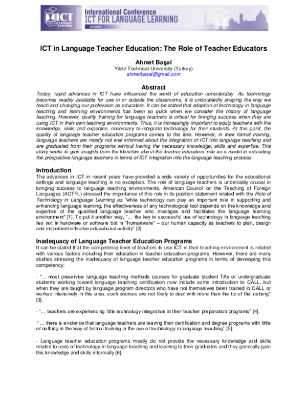 PDF) ICT in Language Teacher Education: The Role of Teacher