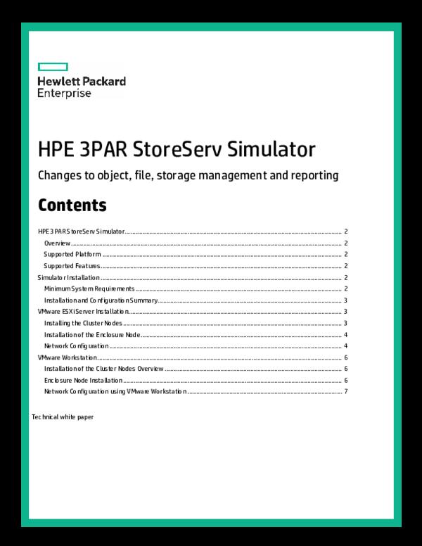 PDF) HPE 3PAR StoreServ Simulator | tecnologias A - Academia edu