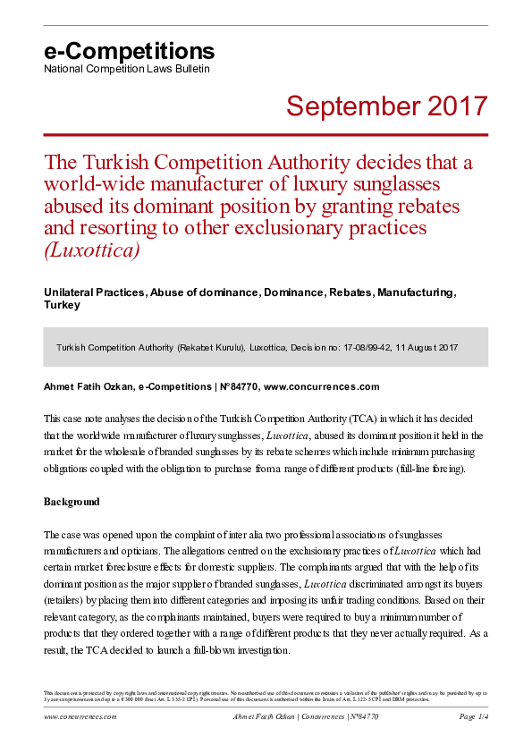 PDF) The Turkish Competition Authority decides that a world-wide