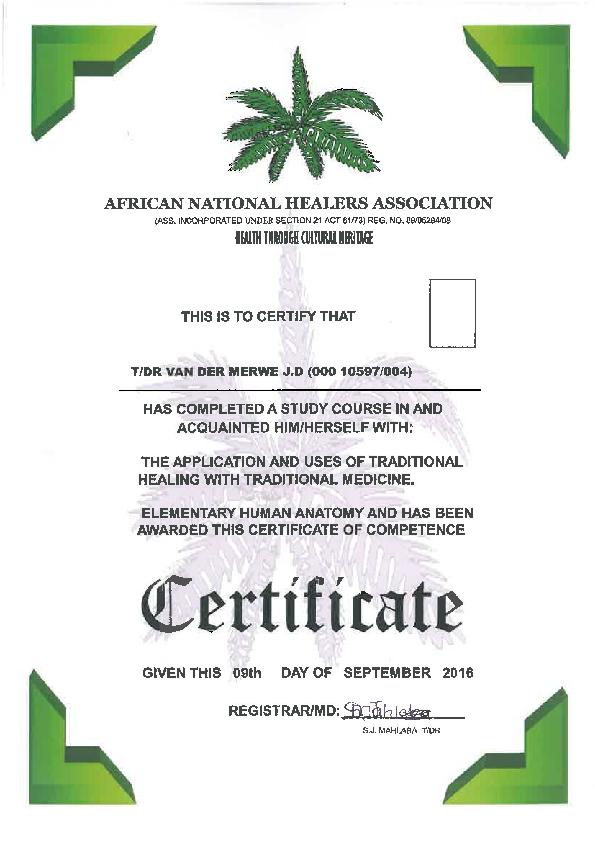 PDF) African National Healer Certification | Jeanne Desiree