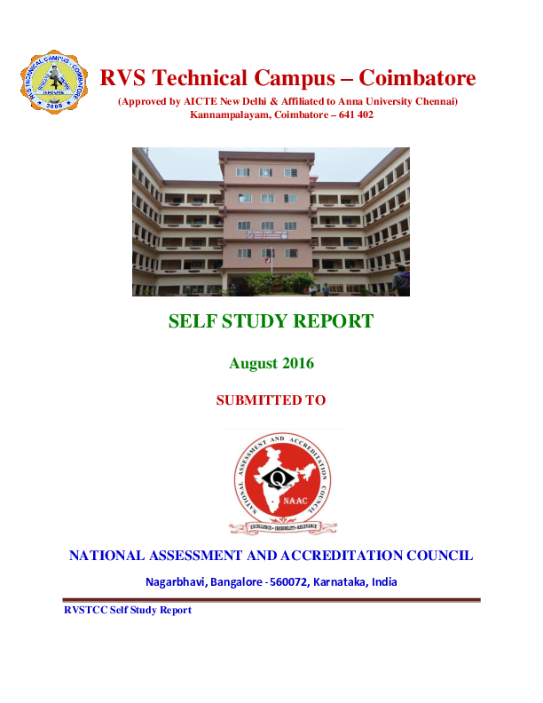PDF) RVS Technical Campus – Coimbatore SELF STUDY REPORT | GOKUL S