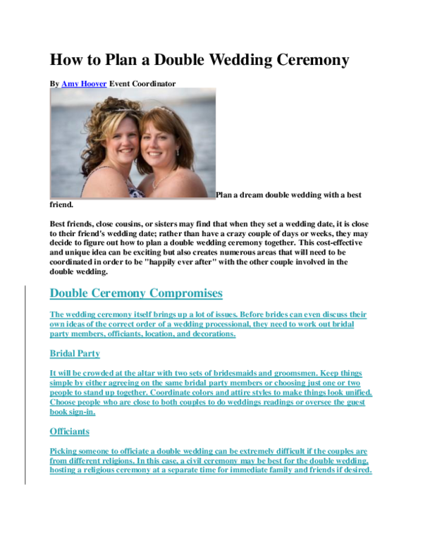 Doc How To Plan A Double Wedding Ceremony John Carlo