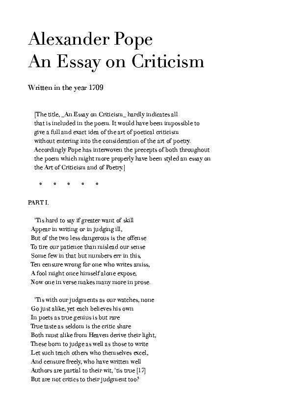 an essay on criticism alexander pope text