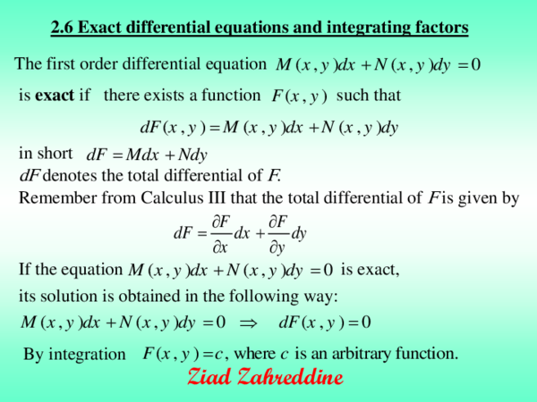 PDF) 2 6 Exact differential equations and integrating