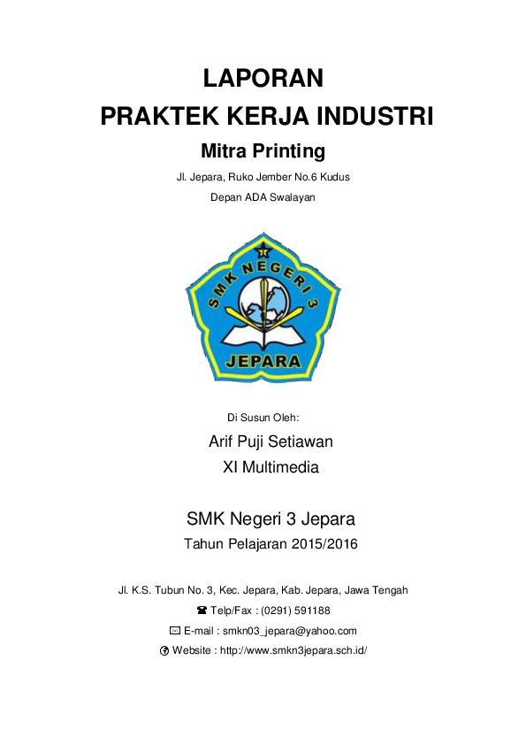 Doc Contoh Laporan Praktek Kerja Industri Lapangan Di Percetakan Arif P U J I Setiawan Academia Edu
