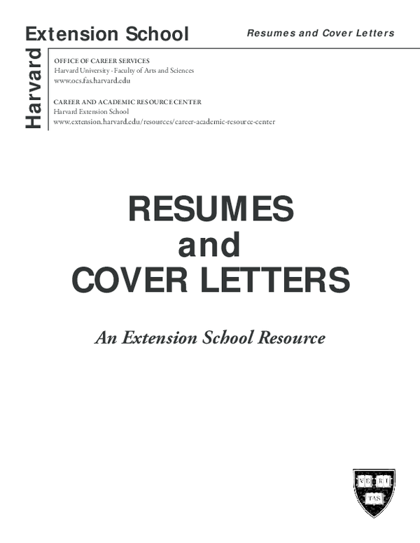 PDF) Harvard RESUMES and COVER LETTERS Extension School An