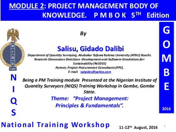 PDF) PROJECT MANAGEMENT BODY OF KNOWLEDGE  P M B O K 5th Ed