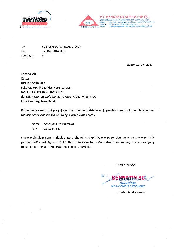 Pdf Surat Balasan Kerja Praktek Athiyyah Fitri Academiaedu