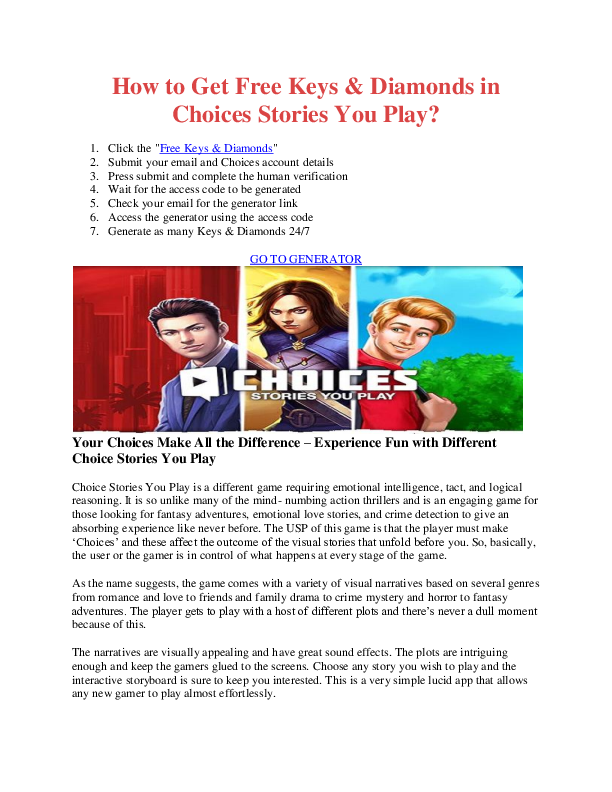 PDF) How to Get Free Keys & Diamonds in Choices Stories You Play