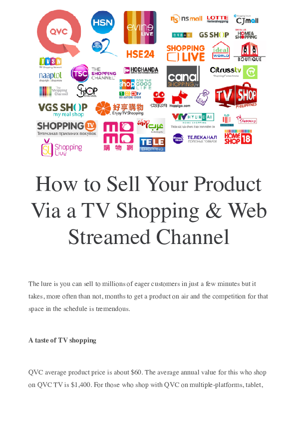 PDF) How to Sell Your Product Via a TV Shopping & Web