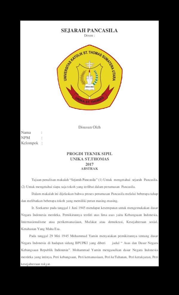 Doc Sejarah Pancasila Abed Saragih Academia Edu