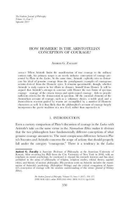 PDF HOW HOMERIC IS THE ARISTOTELIAN CONCEPTION OF COURAGE