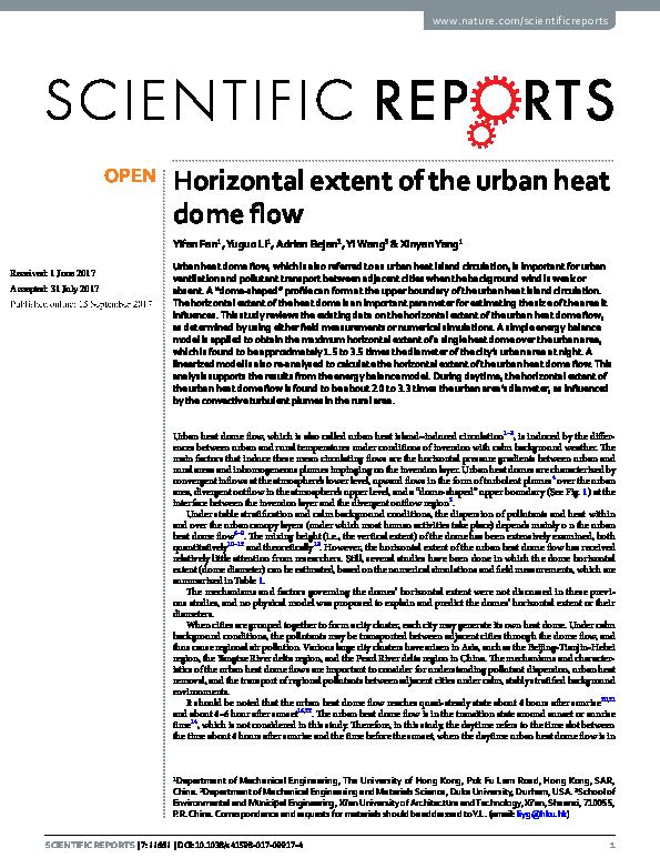 PDF) Horizontal extent of the urban heat dome flow | Adrian
