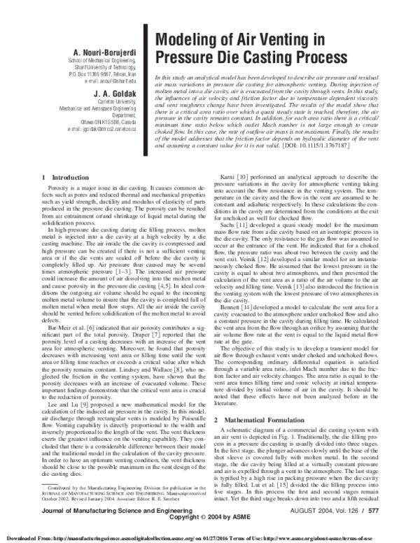 PDF) Modeling of Air Venting in Pressure Die Casting Process