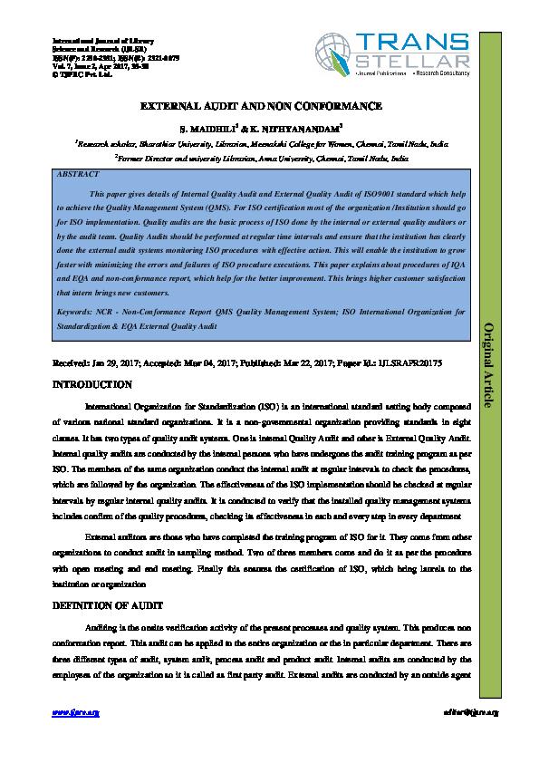 PDF) EXTERNAL AUDIT AND NON CONFORMANCE Report QMS Quality