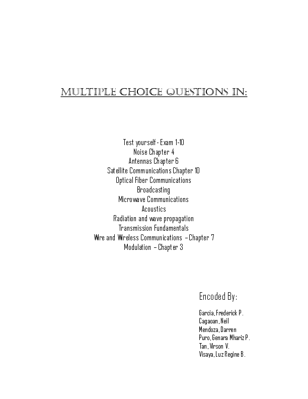PDF) MULTIPLE CHOICE QUESTIONS IN: Encoded By | Kate Balde
