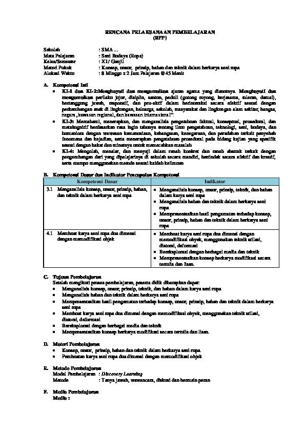 Rpp Seni Budaya 11 Revisi 2017 Mifjan 1984 Academiaedu