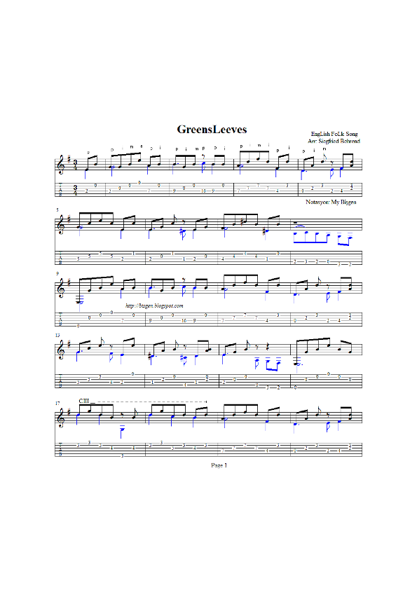 PDF) GreensLeeves-S Behrend Guitar Score Tab+Score   bisgen
