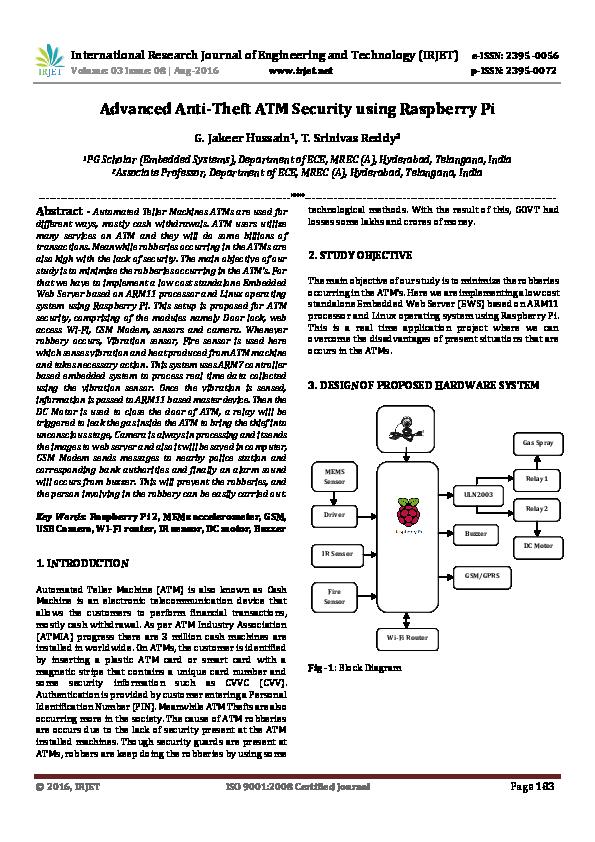 PDF) Advanced Anti-Theft ATM Security using Raspberry Pi