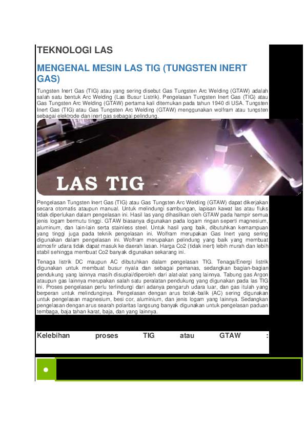 Doc Teknologi Las Mengenal Mesin Las Tig Tungsten Inert Gas Jessica Siahaan Academia Edu