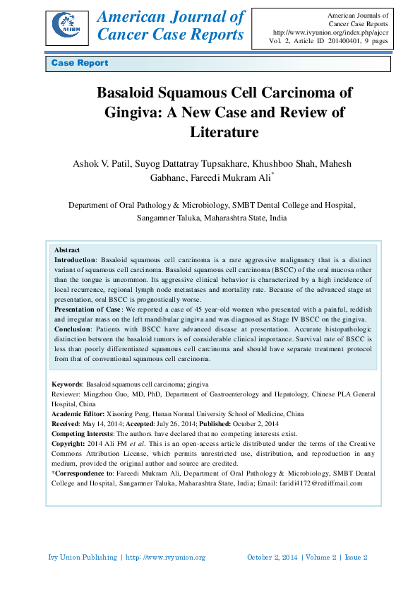 PDF) Basaloid Squamous Cell Carcinoma of Gingiva: A New Case and