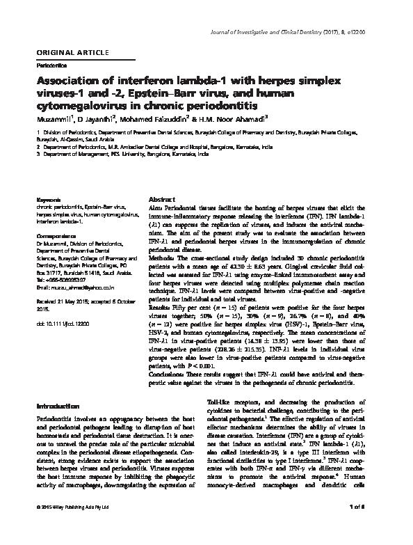 PDF) Association of interferon lambda-1 with herpes simplex