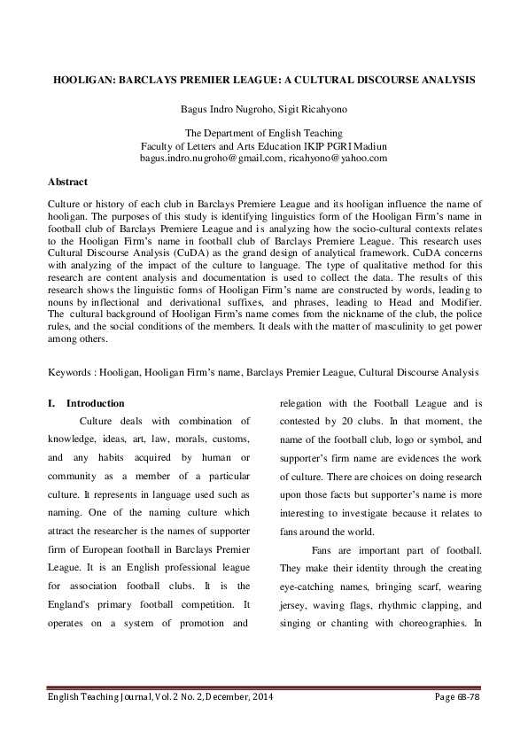 PDF) HOOLIGAN: BARCLAYS PREMIER LEAGUE: A CULTURAL DISCOURSE