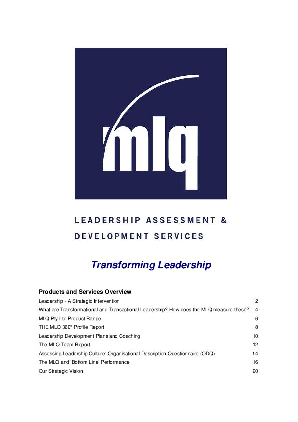 PDF) Transforming Leadership Products and Services Overview   Đoàn