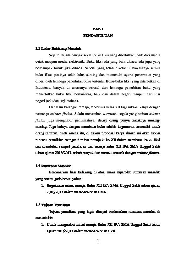 Doc Proposal Karya Ilmiah Minat Remaja Kelas Xii Ipa Sma Unggul Sakti Tahun Ajaran 2016 2017 Dalam Membaca Buku Fiksi Angela Sherly Academia Edu