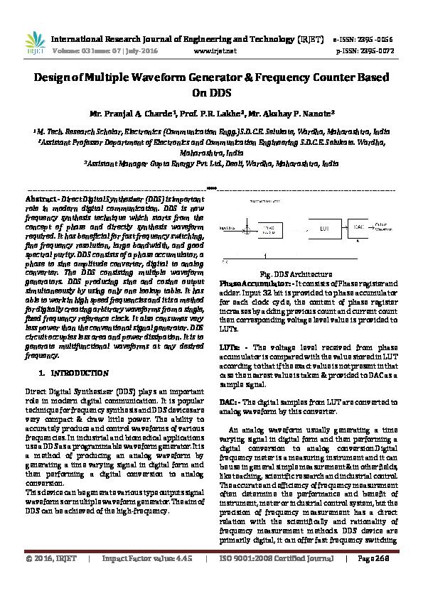 PDF) Design of Multiple Waveform Generator & Frequency