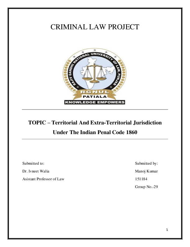 PDF) CRIMINAL LAW PROJECT TOPIC – Territorial And Extra-Territorial