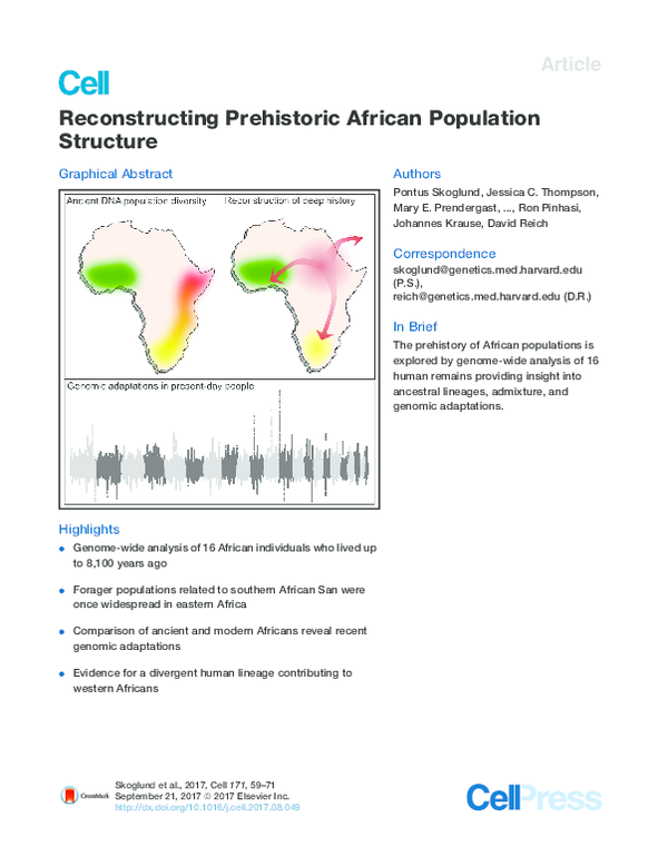 PDF) Reconstructing Prehistoric African Population Structure