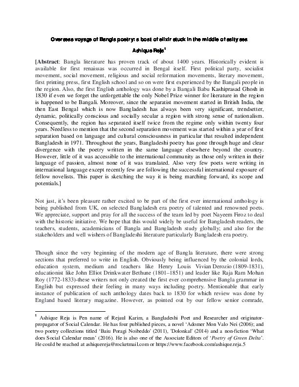 PDF) Bangladeshi Poetry in English: overseas voyage of