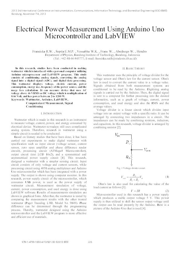 PDF) Electrical Power Measurement Using Arduino Uno