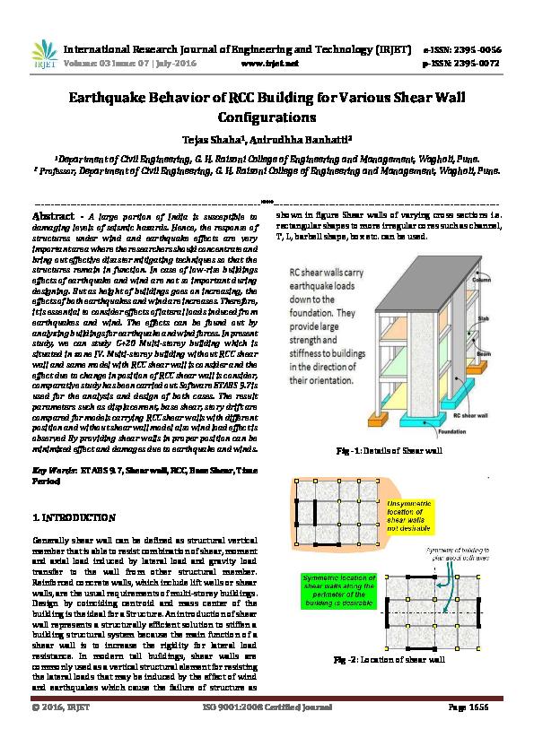 PDF) Earthquake Behavior of RCC Building for Various Shear Wall