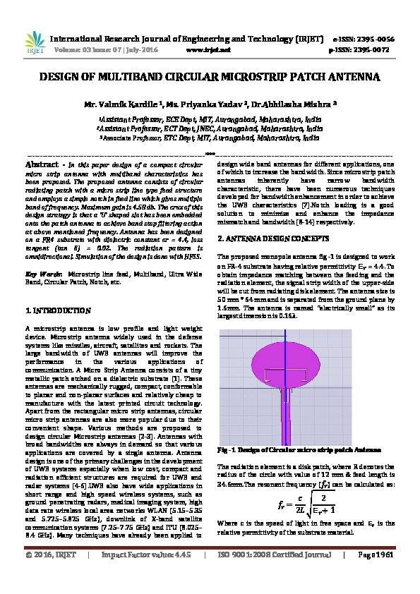 PDF) DESIGN OF MULTIBAND CIRCULAR MICROSTRIP PATCH ANTENNA | IRJET