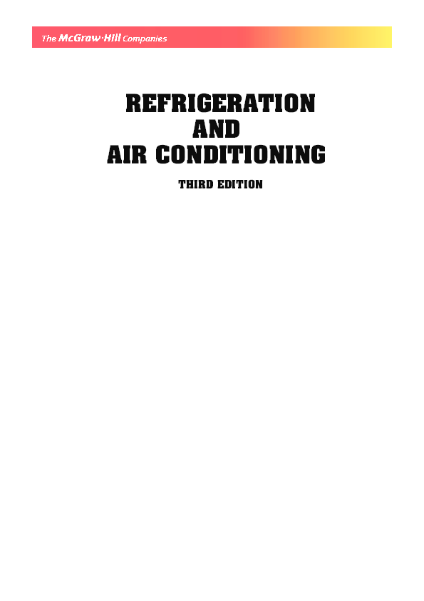 PDF) REFRIGERATION AND AIR CONDITIONING THIRD EDITION