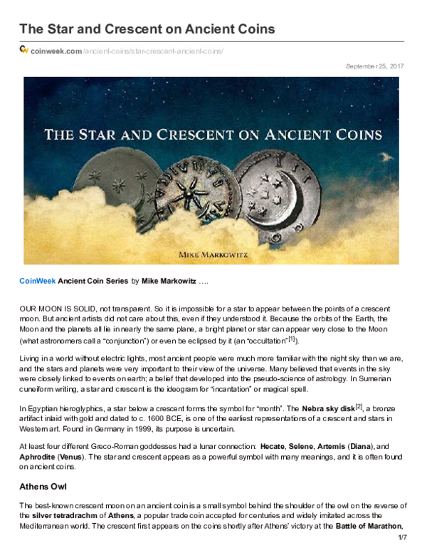 Pdf The Star And Crescent On Ancient Coins Mike Markowitz
