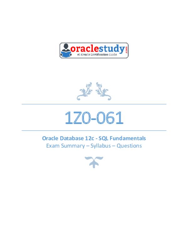 PDF) Z0 061 Oracle Database 12c SQL Fundamentals | Kostya K