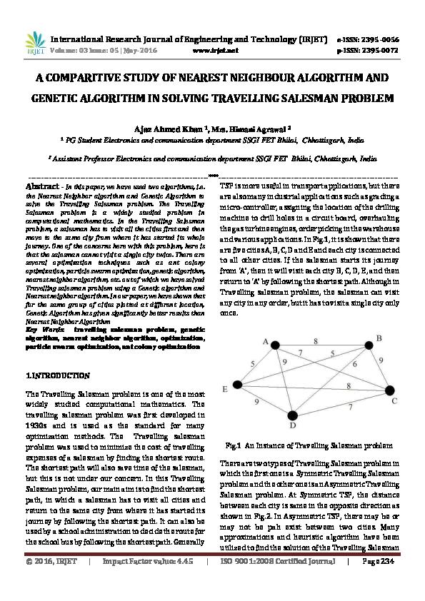 PDF) A COMPARITIVE STUDY OF NEAREST NEIGHBOUR ALGORITHM AND