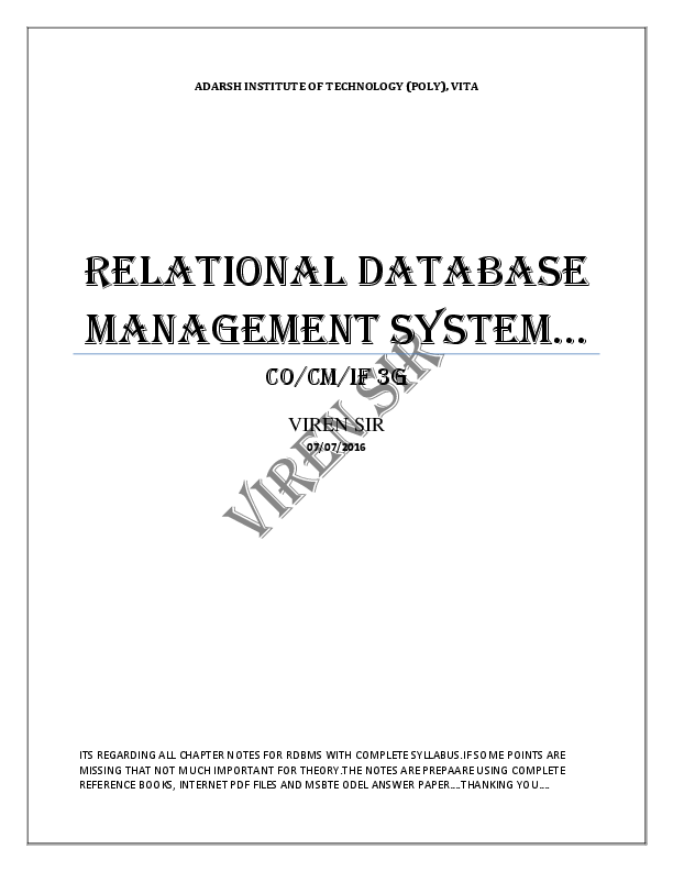 PDF) Relational Database Management System Notes for MSBTE Student