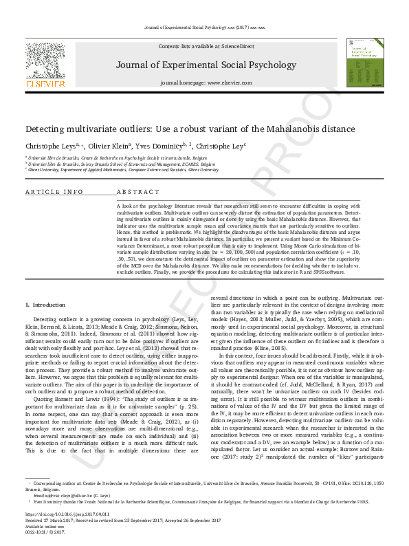 PDF) Detecting multivariate outliers: Use a robust variant
