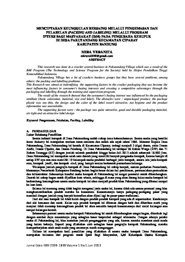 (PDF) MENCIPTAKAN KEUNGGULAN BERSAING MELALUI PENGEMASAN ...