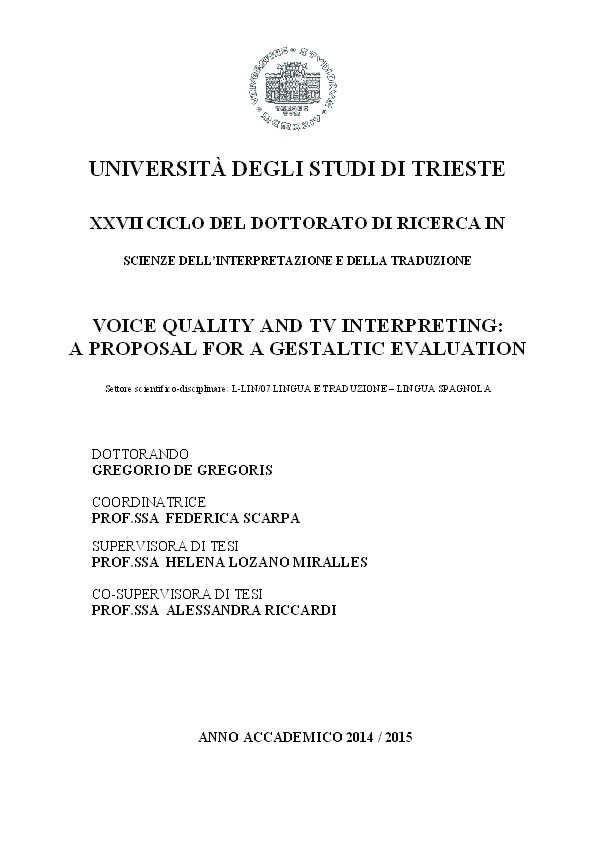 Pdf Voice Quality And Tv Interpreting A Proposal For A