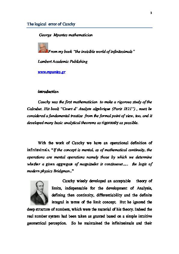 PDF) the logical error of Cauchy | George Mpantes - Academia edu
