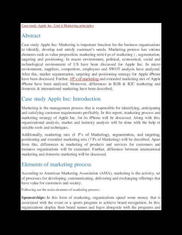 Apples target market apple inc.  case study group