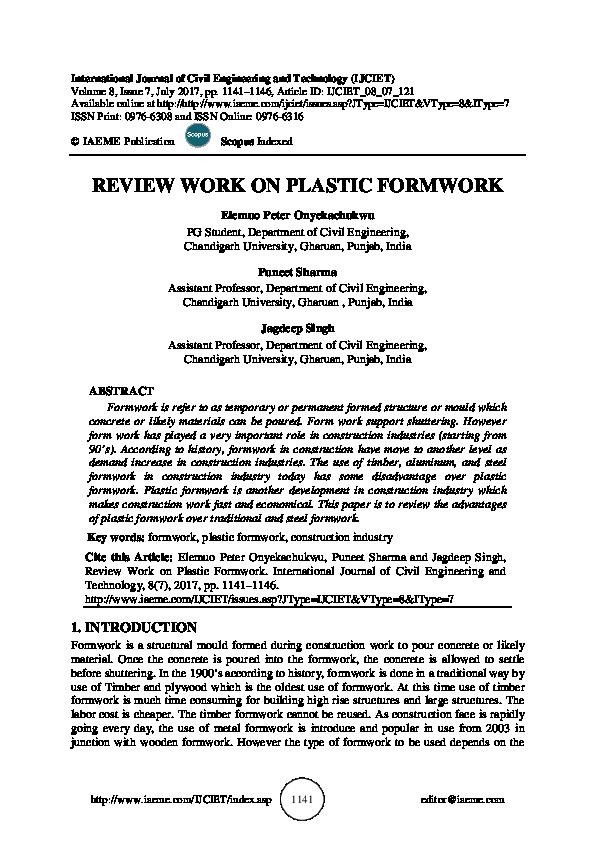 PDF) REVIEW WORK ON PLASTIC FORMWORK | IAEME Publication - Academia edu
