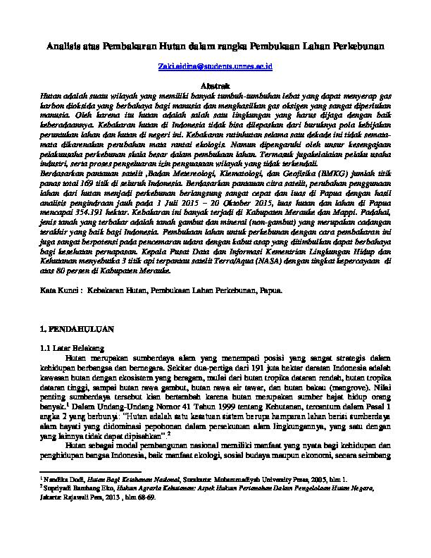 Makalah Kebakaran Hutan Research Papers Academia Edu