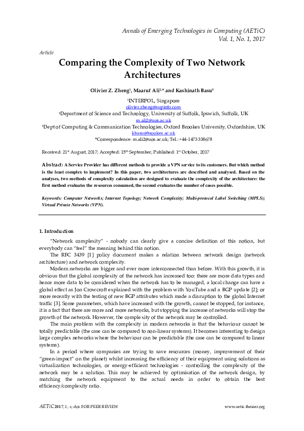 PDF) Comparing the Complexity of Two Network Architectures